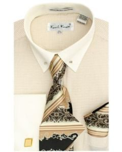 Karl Knox Men's French Cuff Shirt Set - Elegant Striped Tie