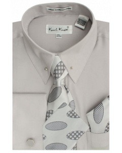 Karl Knox Men's French Cuff Shirt Set - Multi Oval Patterns