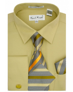 Karl Knox Men's French Cuff Shirt Set - Unique Striped Tie
