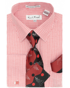 Karl Knox Men's French Cuff Shirt Set - Two Tone Wave
