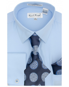 Karl Knox Men's French Cuff Shirt Set - Flower Pattern