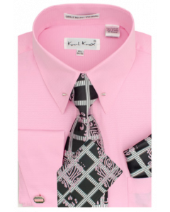 Karl Knox Men's French Cuff Shirt Set - Windowpane Stripes