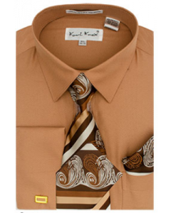 Karl Knox Men's French Cuff Shirt Set - Triple Tone Stripes