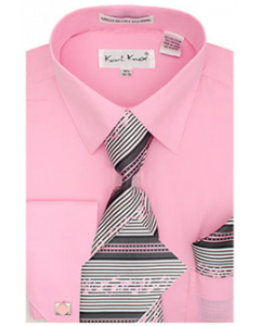 Karl Knox Men's French Cuff Shirt Set - Multi Style Stripes