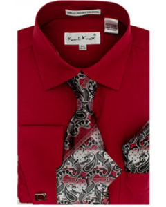 Karl Knox Men's French Cuff Shirt Set - Exciting Jacquard