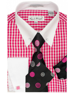 Karl Knox Men's French Cuff Shirt Set - Bullseye Polka Dot
