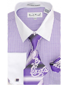 Karl Knox Men's French Cuff Shirt Set - Light Checker