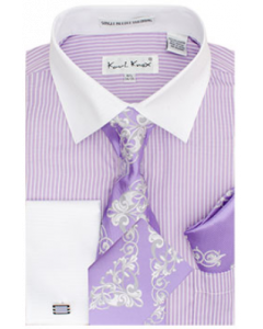 Karl Knox Men's French Cuff Shirt Set - Elegant Flowers
