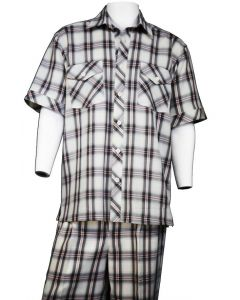 Canto Men's 2 Piece Short Sleeve Walking Suit - Fashion Windowpane
