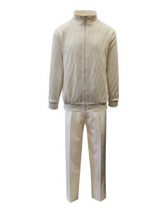 Silversilk Men's 2 Piece Long Sleeve Sweater Walking Suit - Cubed Fabric Pattern