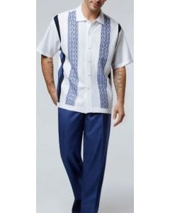 Silversilk Men's 2 Piece Short Sleeve Walking Suit - Twin Geometric Stripes