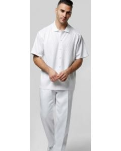 Silversilk Men's 2 Piece Short Sleeve Walking Suit - Solid White