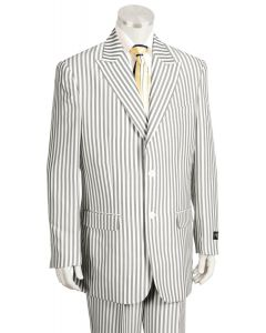 Canto Men's Outlet 3 Piece Poly-Rayon Seersucker Suit - Peak Lapel