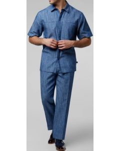 Stacy Adams Men's 2 Piece Walking Suit - Denim Appearance