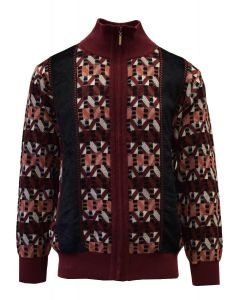 Silversilk Men's Sweater - Geometric Striped Pattern