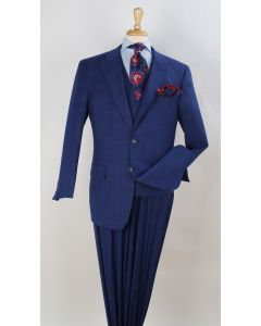 Royal Diamond Men's 3 Piece Fashion Suit - Windowpane