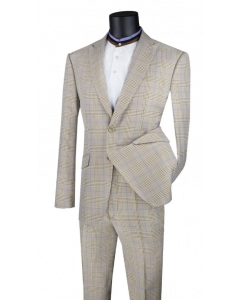 Vinci Men's 2 Piece Slim Fit Suit - Accented Windowpane