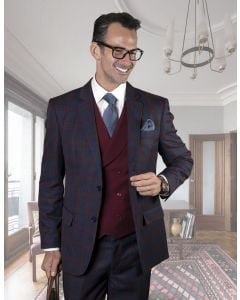 Statement Men's Outlet 3 Piece 100% Wool Suit - Two Tone Windowpane