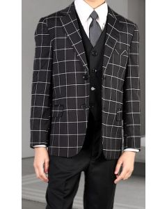 Statement Boy's 3 Piece Suit - Windowpane