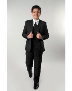 Azurro Boy's Outlet 5 Piece Suit in Solid Colors - Vested w/Shirt and Tie