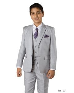 Tazio Boy's Outlet 5 Piece Suit with Free Shirt and Tie - Ultra Soft Sharkskin