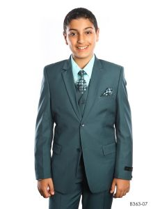 Tazio Boy's Outlet 5 Piece Suit with Shirt & Tie - 4 Button Vest