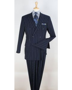 Apollo King Men's 2pc Double Breasted Suit - Pinstripe Suit