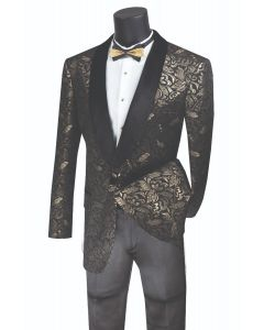 Vinci Men's Wool Feel Sport Coat  - Dark Floral Pattern