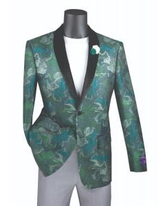 Vinci Men's Slim Fit Sport Coat - Tri-Colored Floral