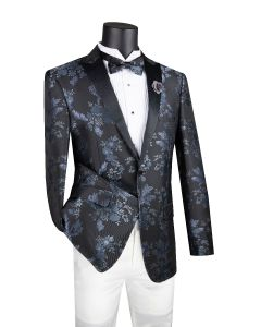 Vinci Men's Slim Fit Sport Coat - Bold Floral Accents