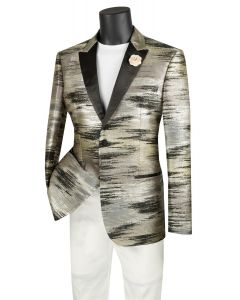 Vinci Men's Slim Fit Sport Coat - Brushed Metallic Pattern