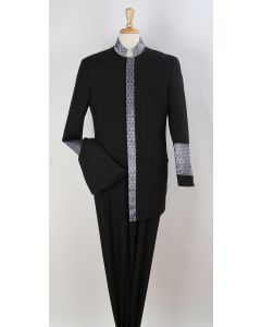Royal Diamond 2 Piece Men's Nehru Style Suit - Pastor Church Suit