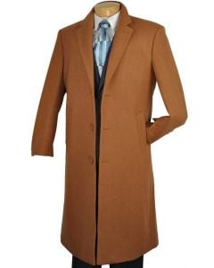 Vinci Men's Full Length Top Coat - Cashmere Blend