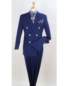 Royal Diamond Men's 3pc Double Breasted Suit - Classic Windowpane