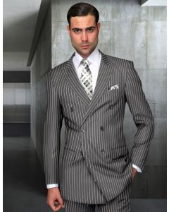 Statement Men's 2 Piece 100% Wool Fashion Suit - Bold Pinstripe