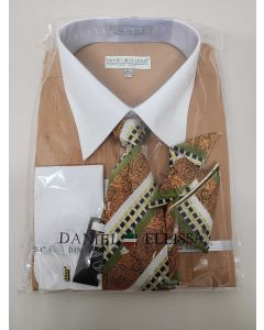 Daniel Ellissa Men's French Cuff Shirt Set - Multi Pattern Stripes