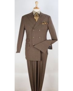 Apollo King Men's Outlet 3pc Double Breasted Suit -  Soft 100% Wool