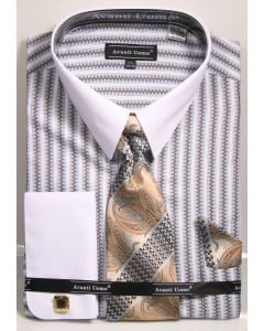 Avanti Uomo Men's 100% Cotton French Cuff Shirt Set - Jacquard Stripe