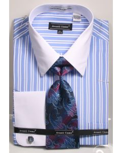Avanti Uomo Men's French Cuff Shirt Set - Bold Double Stripe