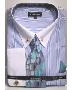 Avanti Uomo Men's French Cuff Shirt Set - Micro Stripes w/ Collar Bar