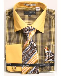 Avanti Uomo Men's French Cuff Shirt Set - Bold Plaid