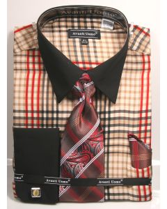 Avanti Uomo Men's French Cuff Shirt Set - Burberry Check