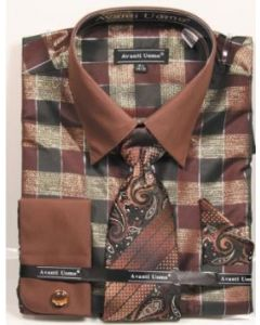Avanti Uomo Men's French Cuff Dress Shirt Set - Multi Color Checkered