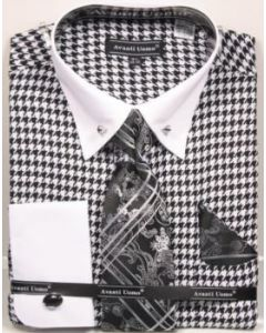 Avanti Uomo Men's French Cuff Dress Shirt Set - Jacquard Patterns