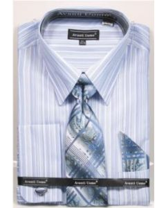 Avanti Uomo Men's French Cuff Dress Shirt Set - Gradient Stripes