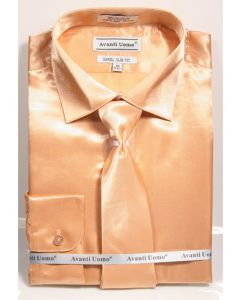 Daniel Ellissa Men's Outlet Satin Solid Dress Shirt Set - Slim Fit