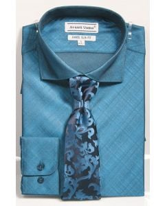 Avanti Uomo Men's Slim Fit Dress Shirt Set - Metallic Look