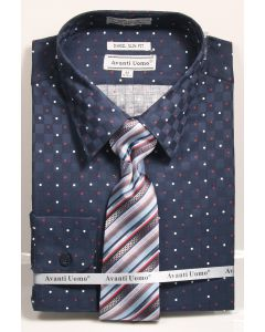 Avanti Uomo Men's 100% Cotton Slim Fit Dress Shirt Set - Dot Pattern