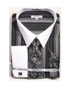 Daniel Ellissa Men's French Cuff Shirt Set - Distinct Stripes