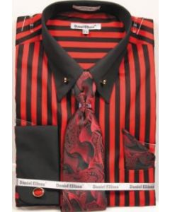 Daniel Ellissa Men's French Cuff Shirt Set - Two Tone Bold Stripes